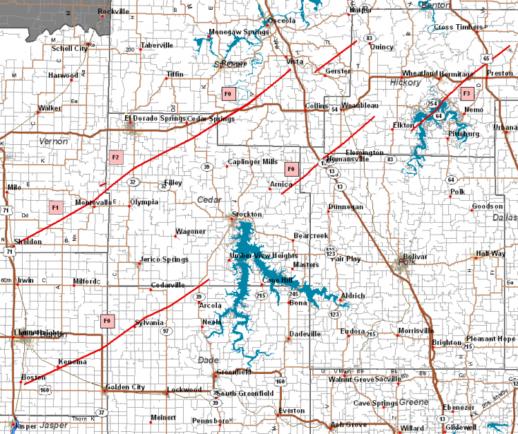 west central missouri tornado track map