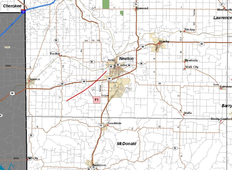 Newton County tornado track