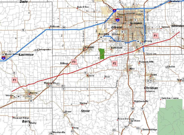 Tornado Tracks for Verona to SE Greene county