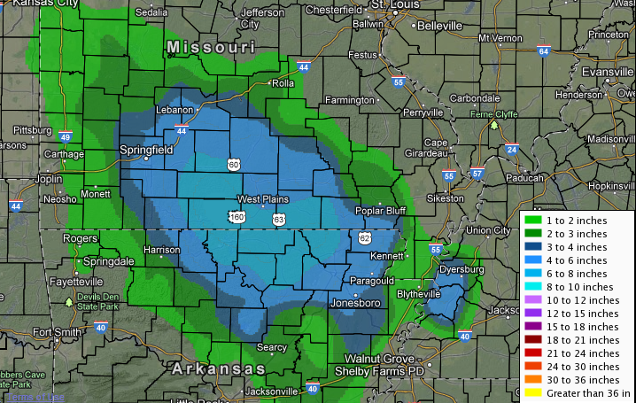Snowfall totals map from this event