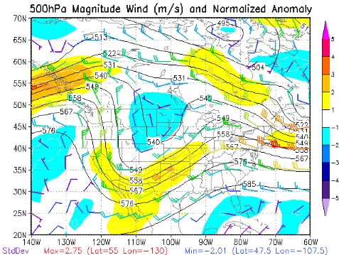 500mb chart of heights and winds at midnight on December 3, 1978