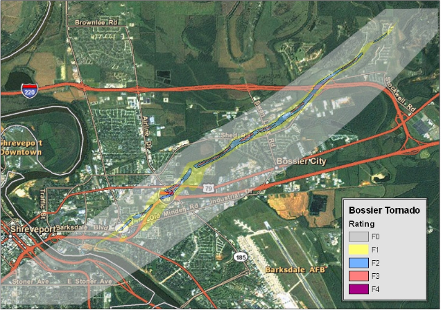 Track and damage map of the 1978 Bossier City tornado