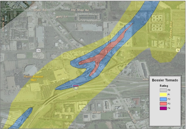 Track map of the Bossier City tornado through the Airline Drive area