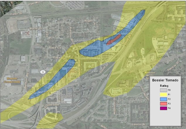 Track map of the Bossier City tornado through the Benton Road area