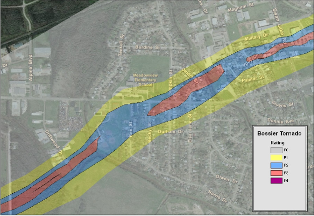 Track map of the Bossier City tornado through the Meadowview area