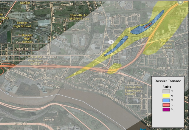 Track map of the Bossier City tornado near the tornado's touchdown location