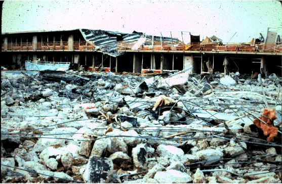 Ground view of the destruction of the Best Western Bossier Inn
