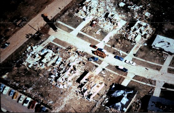 Aerial view of damage to homes