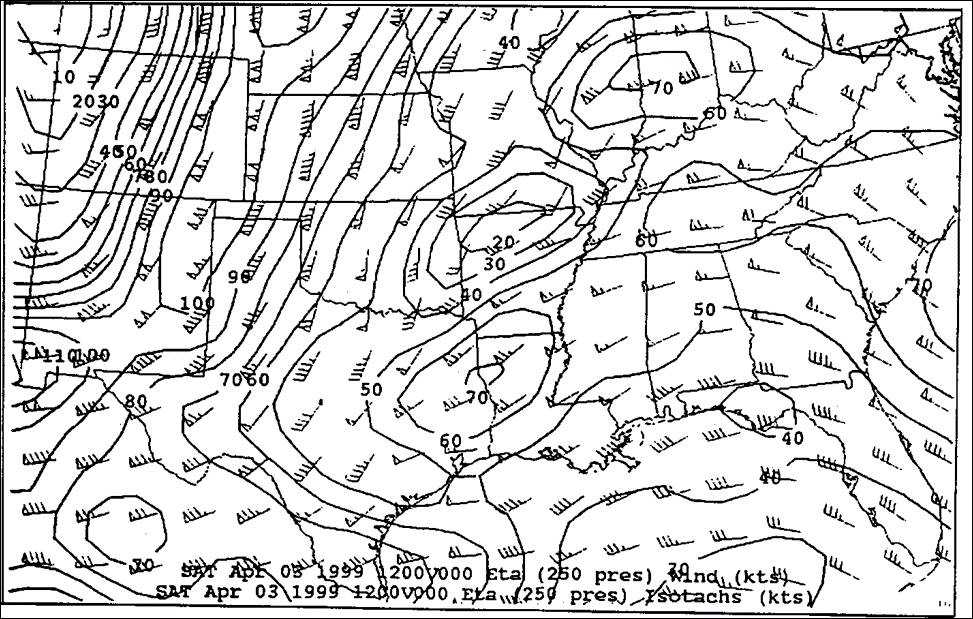 250mb Analysis at 12z on April 3, 1999