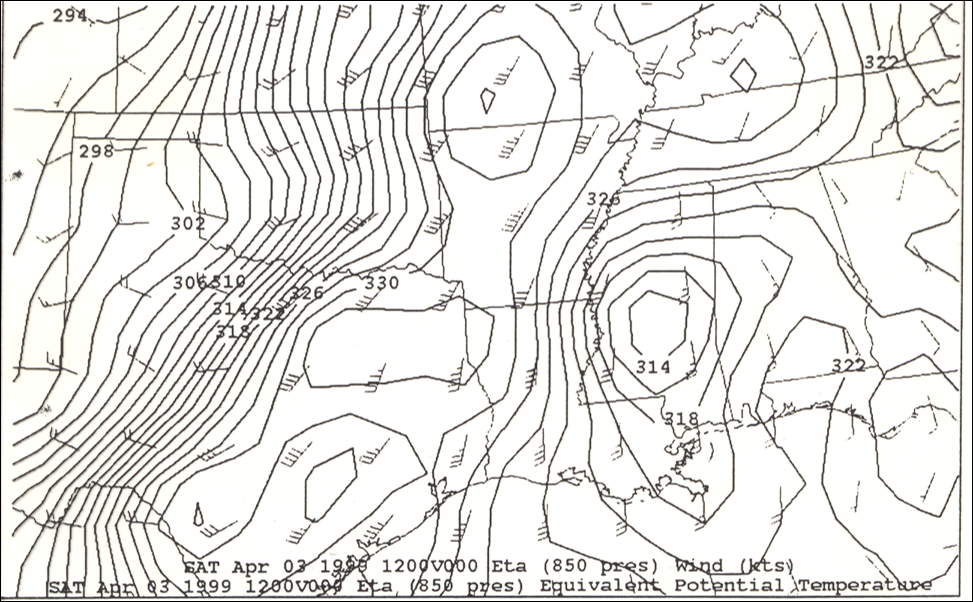 850mb Analysis at 12z on April 3, 1999