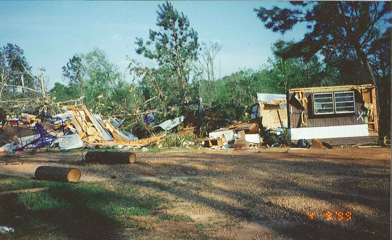 Tornado damage in Benton, LA