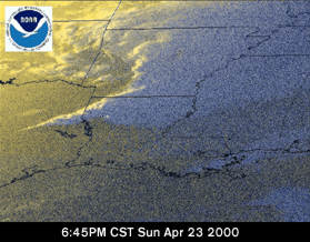 Satellite image during the tornado outbreak