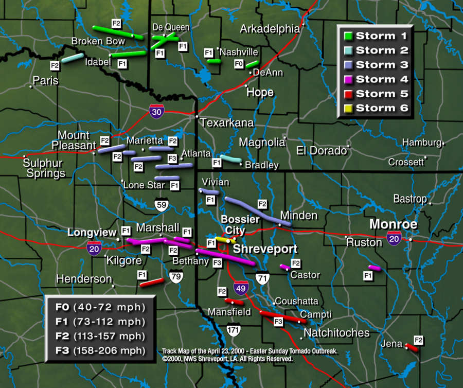 Map showing the tracks of the tornadoes on April 3, 1999
