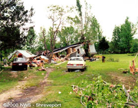 Tornado damage near Stagecoach Road in south Shreveport