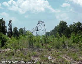 Damage to an electrical transmission tower in Natchitoches Parish
