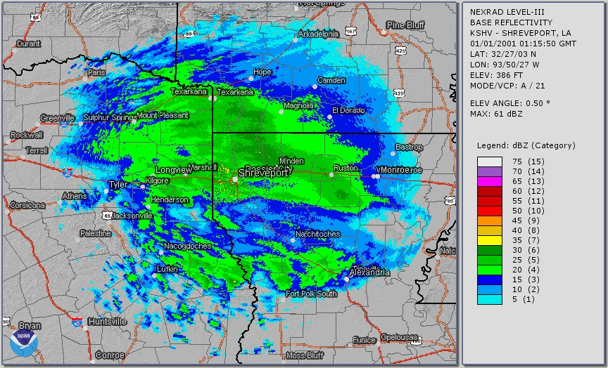 Radar image showing heavy snow bands north of I-20