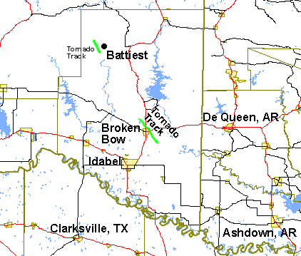 Tornado tracks in McCurtain County, OK, on May 1st, 2003