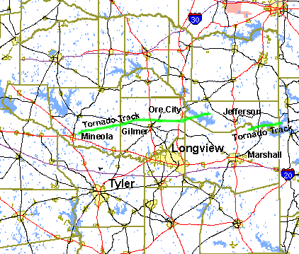 Tornado tracks across East Texas on May 6-7, 2003