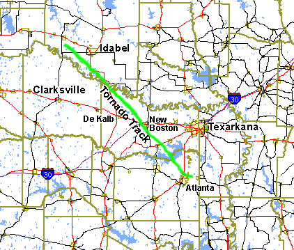 Tornado tracks in Southeast Oklahoma and Northeast Texas on May 14th, 2003