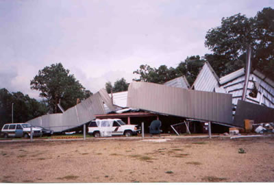 Destroyed boat storage building near Quitman, TX