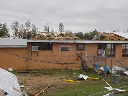 Roof damage at Olla High School