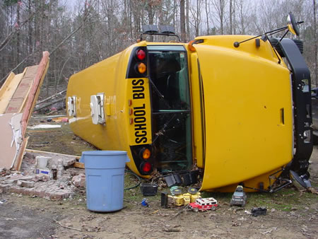 School bus overturned in the Patterson Loop area