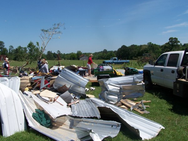 Metal building destroyed by the tornado in Rusk County