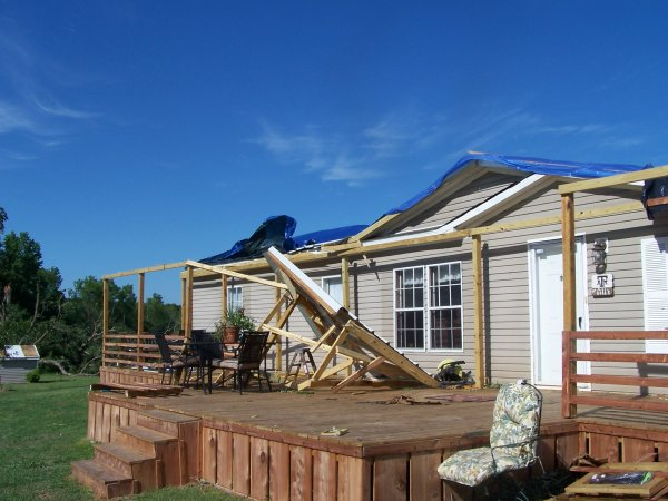 Roof damage to a home in Panola County
