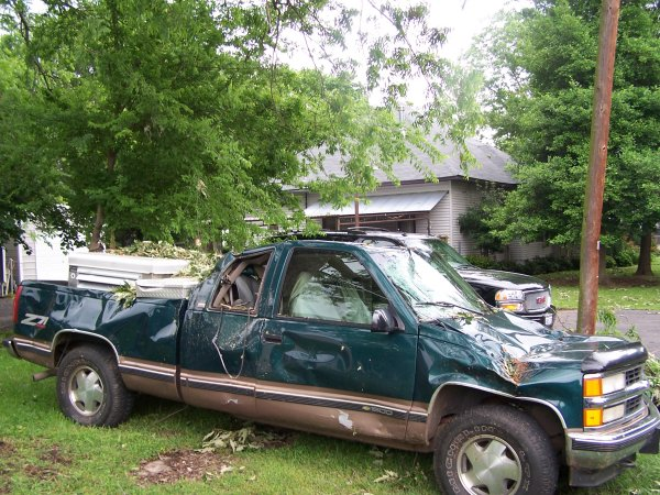 A truck in Winnsboro was damaged by a falling tree