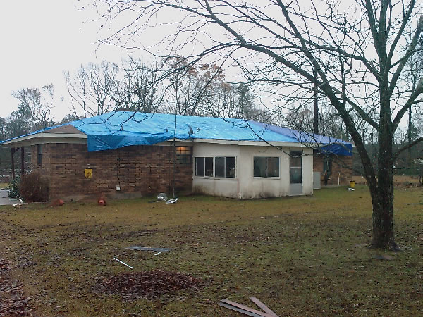 Damage to a home in Webster Parish