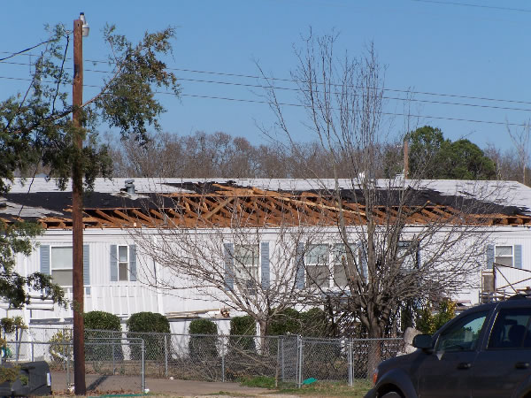 Roof damage to a home