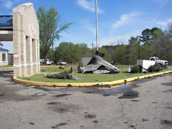 Damage to Jonesboro-Hodge High School