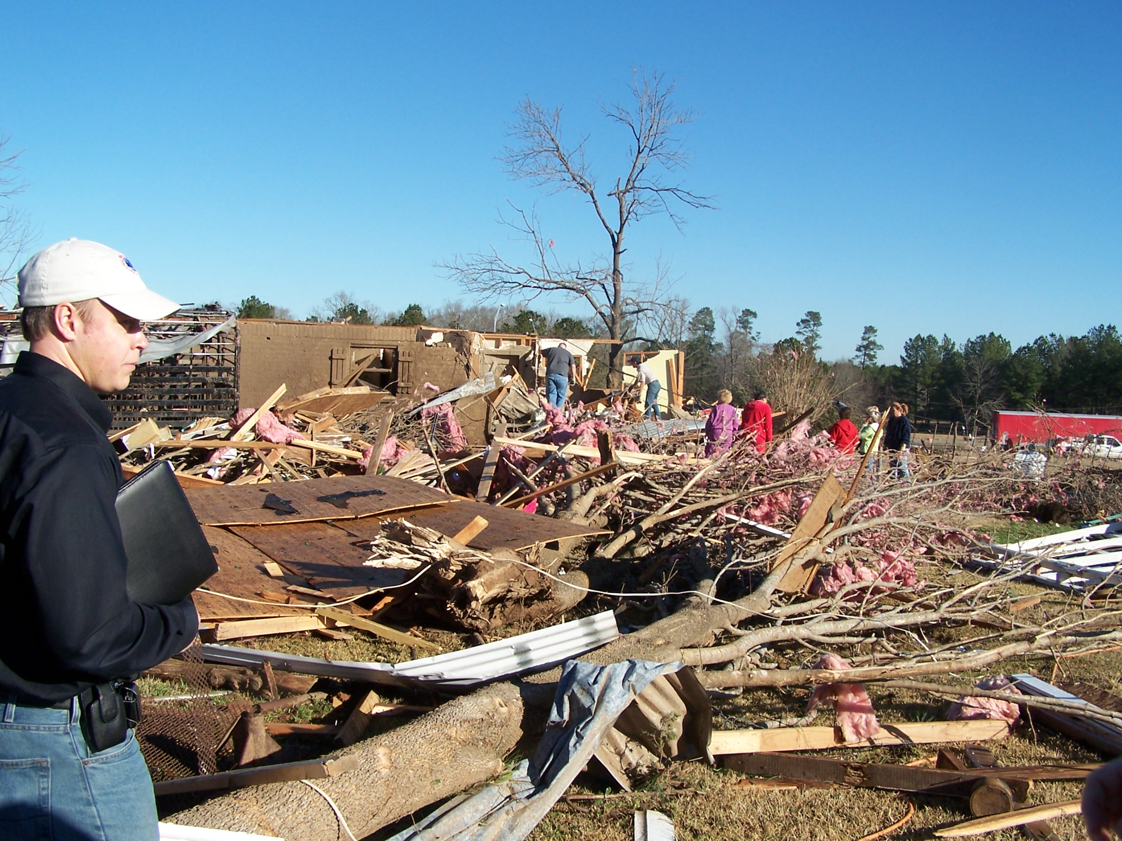 Tornado damage near Waskom, TX