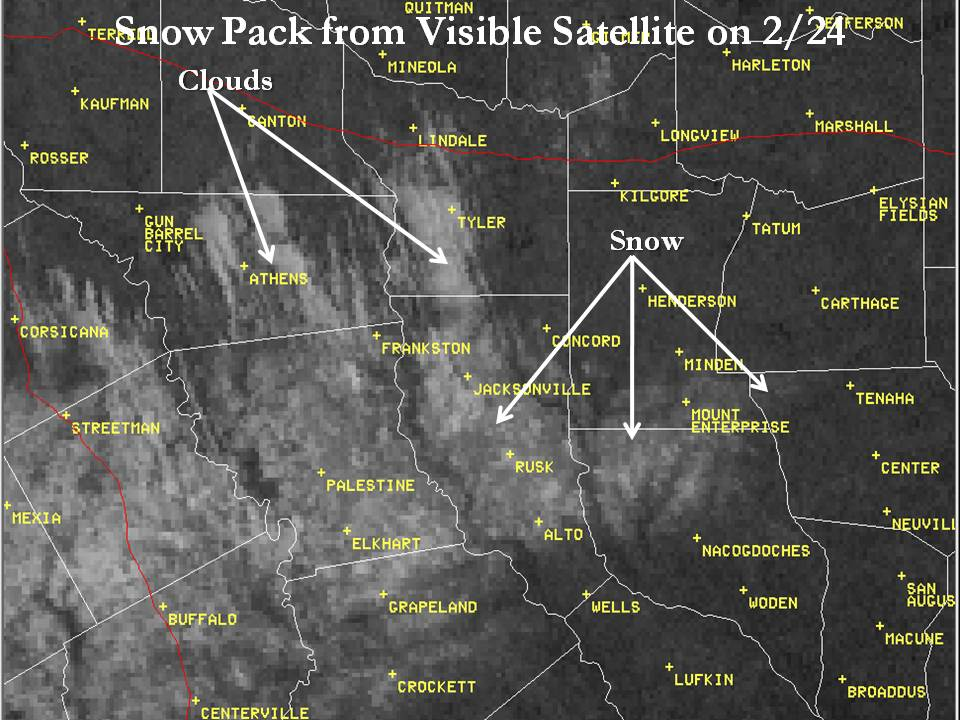 Snow pack on visible satellite imagery on February 24
