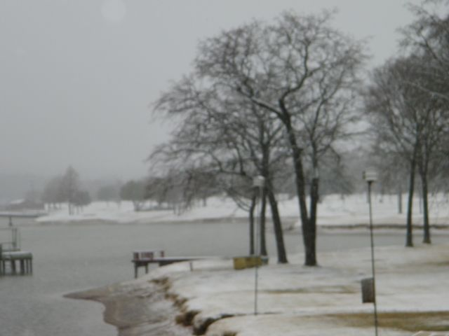 Snow along the shores of Lake Palestine in Smith County
