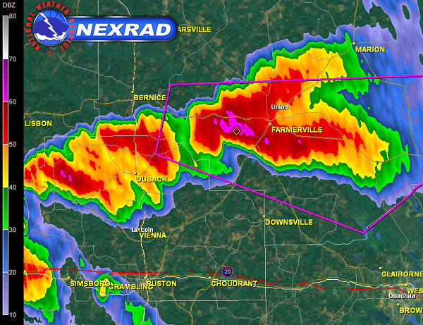Radar image of the supercell approaching Farmerville