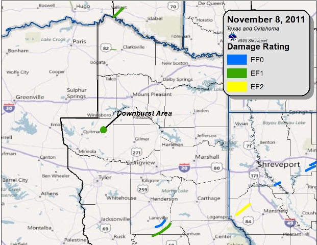 Tornado and downburst tracks in East Texas and Southeast Oklahoma