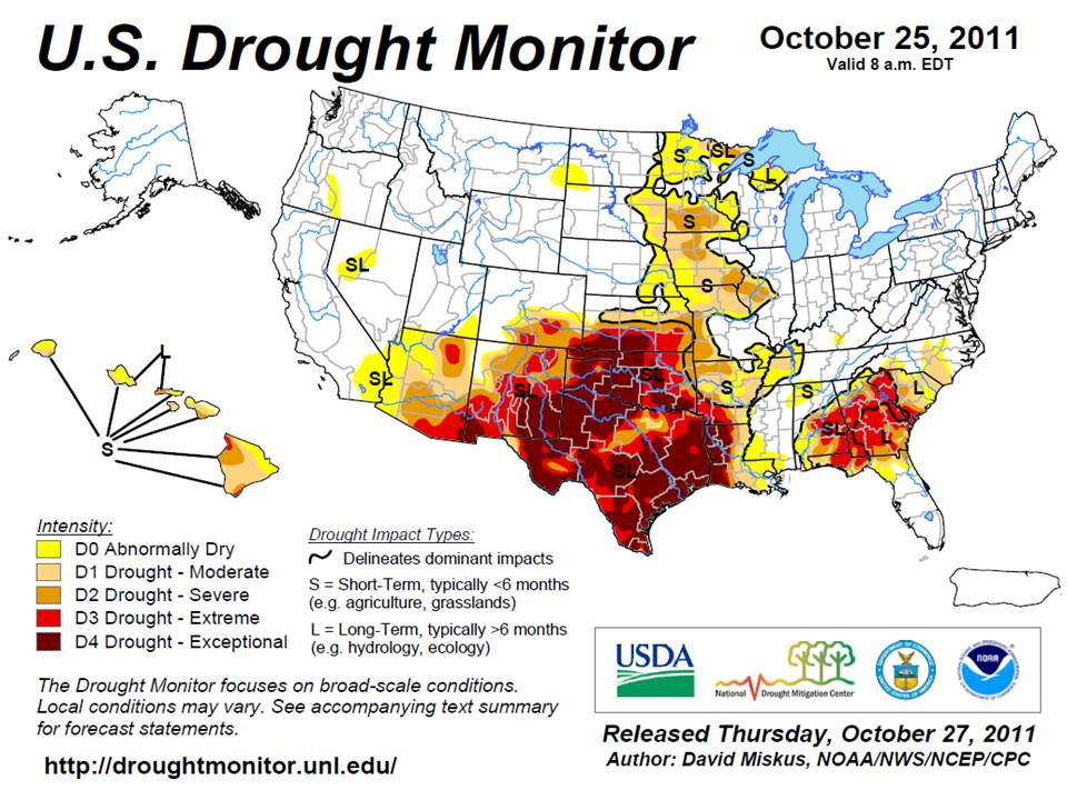 Drought Monitor from October 25, 2011