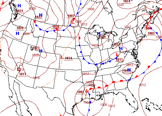 Surface map at 1pm CDT on September 30, 2012