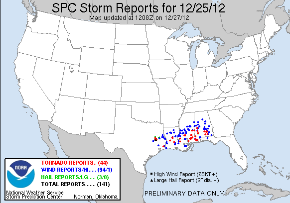Storm reports for December 25, 2012