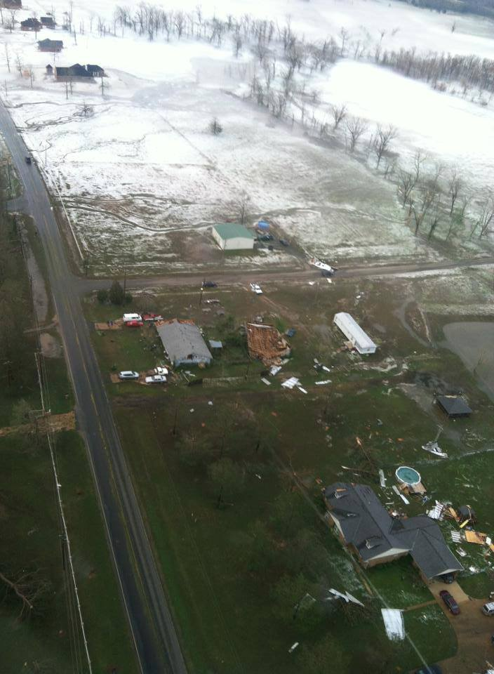 Aerial view of hail covering the ground in De Soto Parish