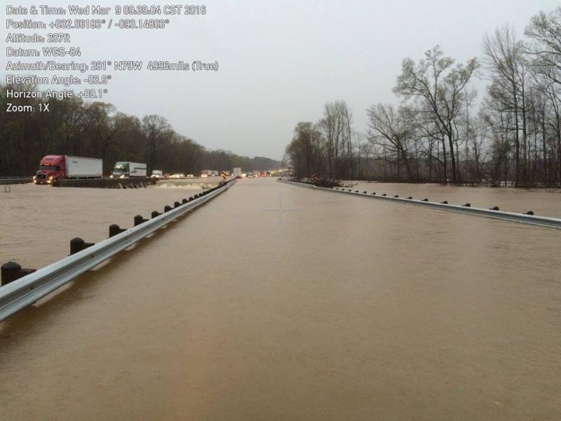 I-20 flooded near Exit 55. Photo is courtesy of LADOTD.
