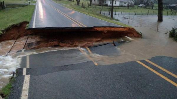 Highway 552 washed out near Downsville, LA.