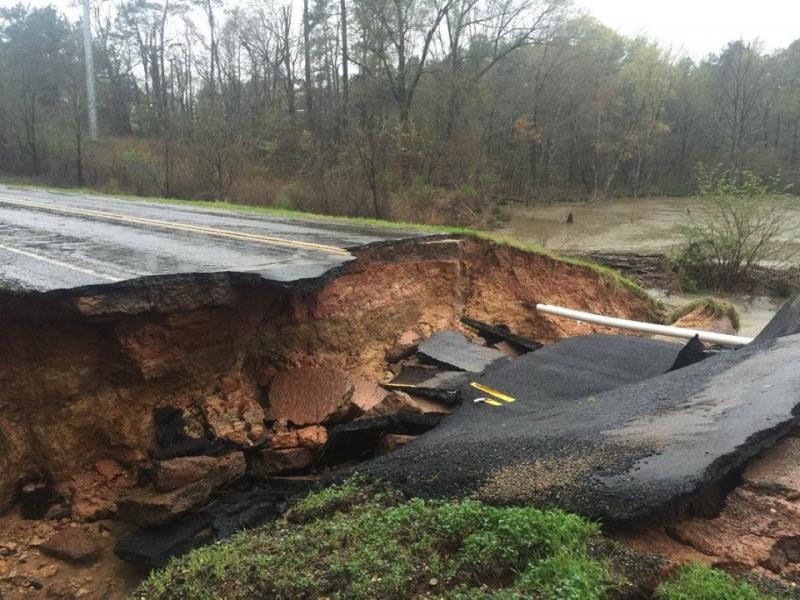 State Highway 157 washed out south of Highway 527.