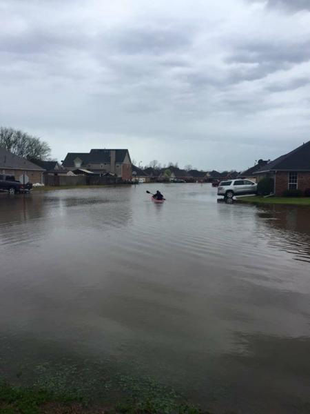 Flooding in the Golden Meadows subdivision of Bossier City.