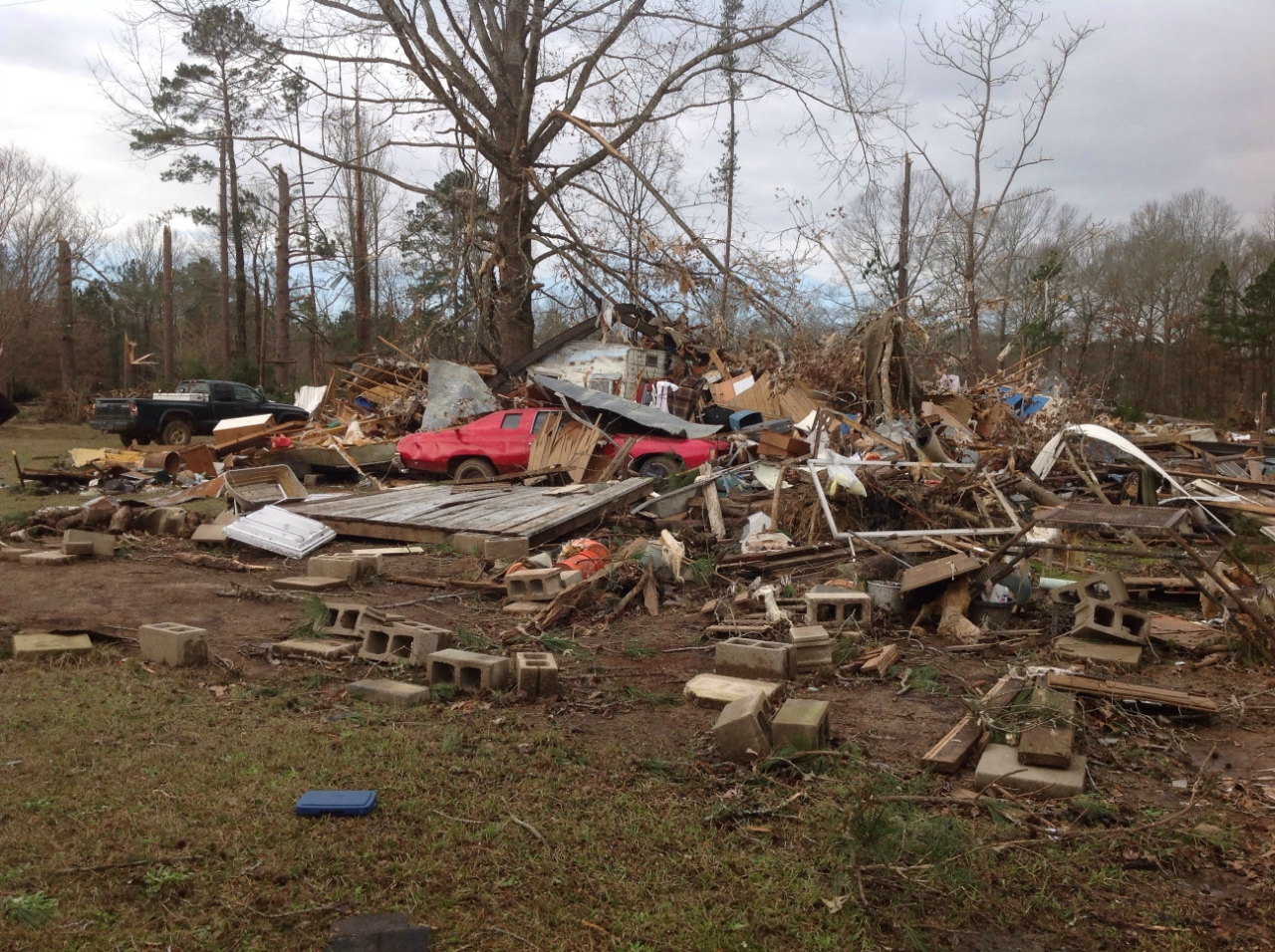 Manufactured home completely destroyed NE of Plain Dealing, LA