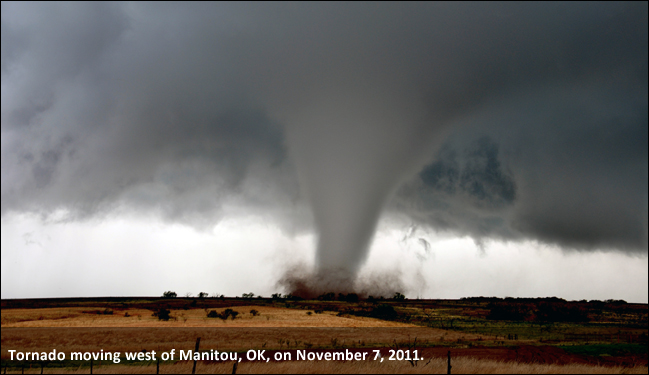 Tornado near Manitou, OK, on November 7, 2011. Photo is courtesy of Chris Spannagle.
