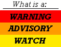 What is the difference between watches, warnings and advisories