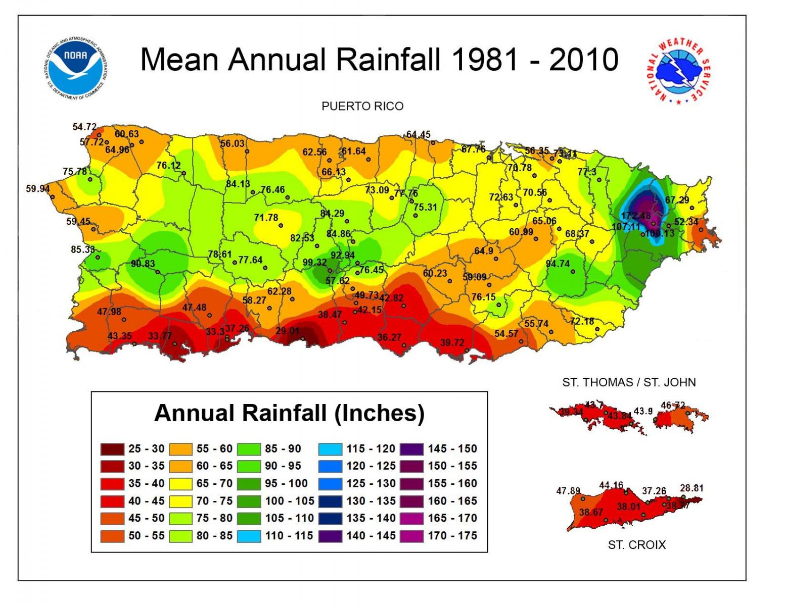 National Weather Service Climate - Annual precipitation map us