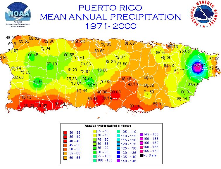 Map of Puerto Rico and USVI Mean Annual Rainfall (1971-2000)